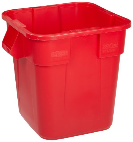 "Rubbermaid Commercial LLDPE 28-Gallon Brute Trash Can without Lid, Square, 21.5"" Width x 21.5"" Length x 22.5"" Height, Red at Sears.com"
