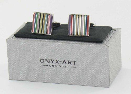 Men's Designer Fashion Stainless Steel Novelty Cufflinks - Funky Stripes