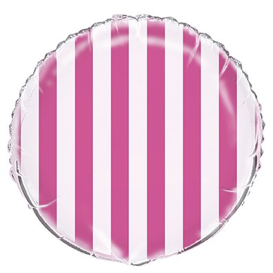 "18"" Hot Pink Stripe Inflatable Balloon - 1"