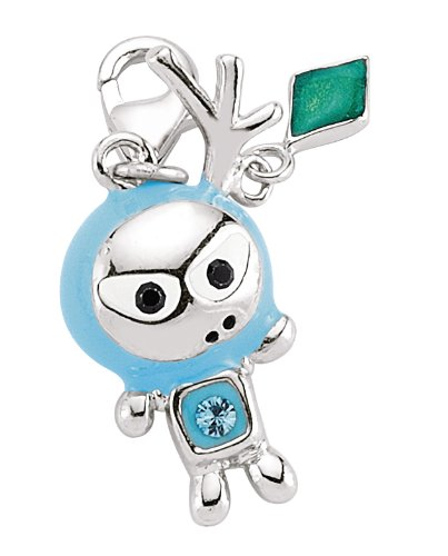 Mbody:STERLING SILVER RHODIUM PLATED, CARTOON CHARACTER,CHARM SKY BLUE ENAMEL