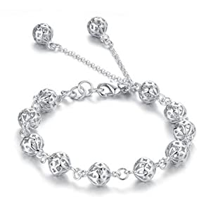 Atlas Jewels Women's .925 Sterling Silver Open Bead Petite Fashion Bracelet Jewelry