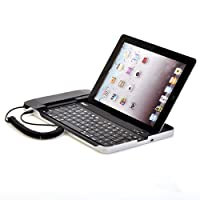 WCI Quality Wireless Aluminum Slim 2.0 Bluetooth Keyboard Docking Station With Built In Telephone For Skype And Video Chat - For Apple iPad, iPad 2 And The New iPad 3 - Upright Stand
