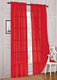 MONAGIFTS 2 PANELS RED Sheer Voile Window Panel curtains 59\