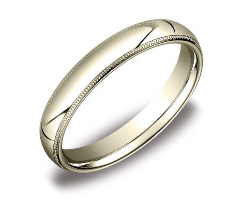 Men's 14k Yellow Gold 4mm Comfort Fit Milgrain Wedding Band Ring, Size 11.5