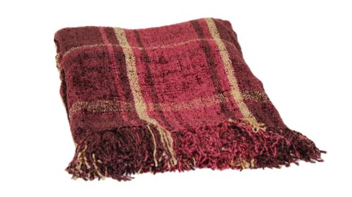 Brentwood 3870 Milano Chenille Throw Blanket, 50 By 60-Inch, Mulberry Plaid