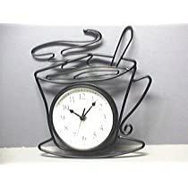JAVA Coffee Cappuccino Cup Wrought Iron Wall Clock NEW