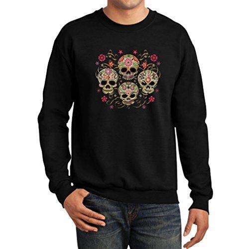 Teestars Men'S - Sugar Skulls Sweatshirt Small Black