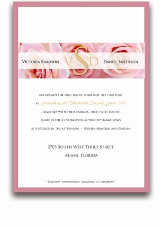 140 Rectangular Wedding Invitations - Pink Rose Party