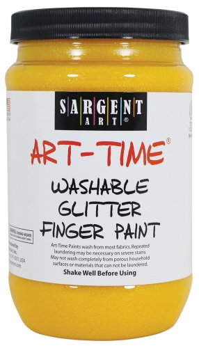 Sargent Art 22-9202 16-Ounce Art Time Washable Glitter Finger Paint, Yellow - 1