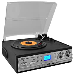 Pyle PTTCS9U Classic Retro Turntable with Am Fm Radio/Cassette USB/SD Direct Record and Aux Input for iPod and MP3 Players