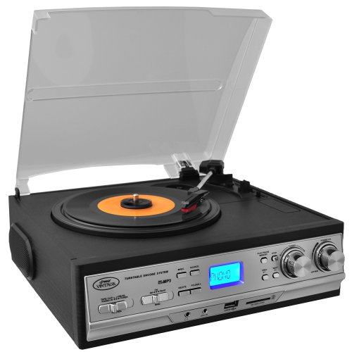 Pyle PTTCS9U Classic Retro Turntable  Am Fm Radio/Cassette