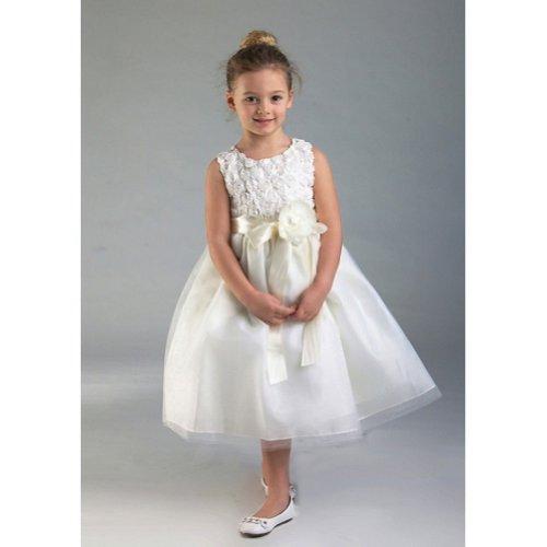 Crayon Kids Ivory Floral Tulle Easter Flower Girl Dress 3T