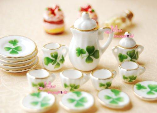 Lot Of 15 Green Leaf Dollhouse Miniature Porcelain Coffee Tea Cup Set