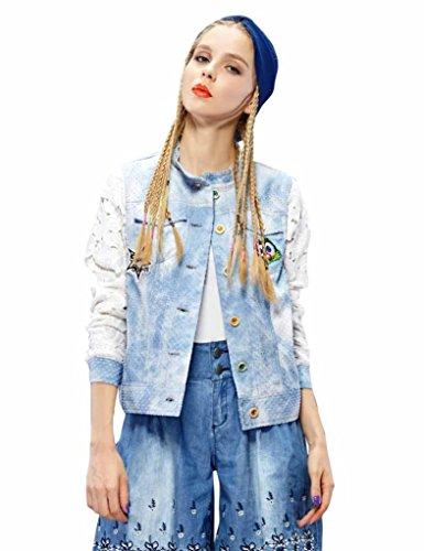 Elf Sack Womens Autumn Jean Jacket Lace Badge Piecing Medium Size Blue