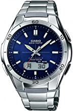 Casio  WVA-M640D-2AER Men's Quartz Watch with Blue Dial Analogue - Digital Display and Silver Stainless Steel Bracelet