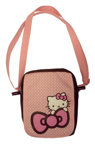 Hello Kitty Girls Spotty Travel / School / Cross Body Hand Bag - Pink & Chocolate