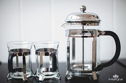 MARGRA French Press Coffee & Tea Maker Set - Elegant Design - Dual Filter System- Upgraded Thick Durable Glass