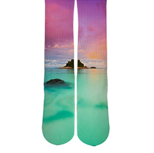 DopeSox Men's Beach Sublimated Socks One Size (6-12) White