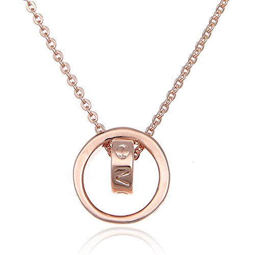 Hemss Bicyclic Rose Gold Chain Clavicle Short Paragraph Jewelry Pendant For Women