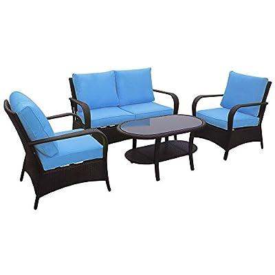 Great Spanish Wells Outdoor Wicker Patio Furniture pc Sofa Set in Brown Wicker with Sky Blue ue ue