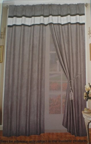 shopping sale a pair of micro suede grey window curtain