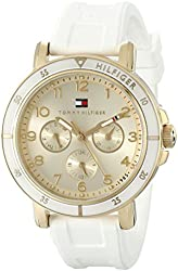 Tommy Hilfiger Women's 1781511 Gold-Tone Sport Watch with White Silicone Band