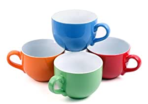 Set of 4 Jumbo 18oz Wide-mouth Soup & Cereal Ceramic Coffee Mugs, Solid