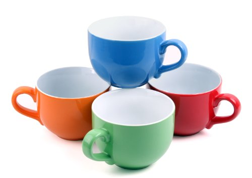 Set Of 4 Jumbo 18Oz Wide-Mouth Soup & Cereal Ceramic Coffee Mugs