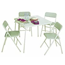 5 Piece,Cosco Square Wheat 34 in.Table and Chair Set
