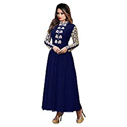 INDIA FASHION SHOP WOMENS BLUE GOLD EMBROIDERED GEORGETTE DRESS