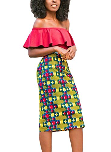Annflat-Womens-African-Print-High-Waist-Stretch-Bodycon-Pencil-Midi-Skirt