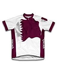 Qatar Flag Short Sleeve Cycling Jersey for Women