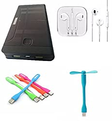 JM-055 16800mah Power Bank,USB LED Light,USB Fan and earpods with mic Compatible with Karbonn A7 Star