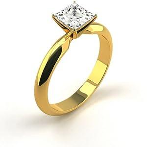 14K Yellow Gold Diamond Engagement Ring Natural 0.99 Carat Weight Princess F VS1 IGL Certificate