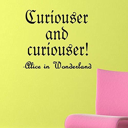 """Curiouser e curiouser-Alice nel paese delle meraviglie, in vinile, da parete """", Vinile, Bianco, 8x10"""