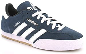 Adidas Samba Super Suede Leather Indoor Soccer Shoe - Navy Suede/White - UK 10