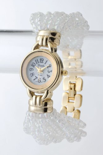 Contempo Couture Round Case Beaded Watch (Gold/White)