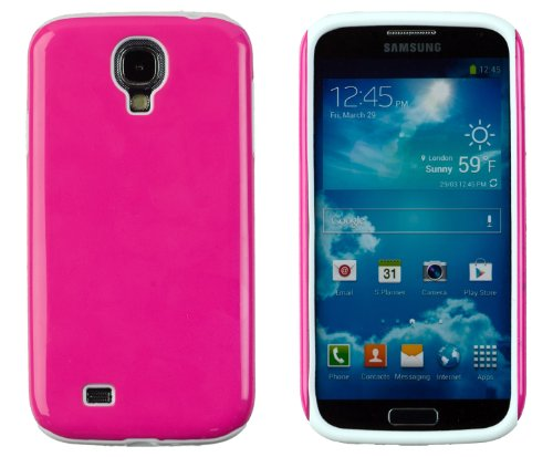 Dandycase 2-Piece Hybrid High Impact Outer Case With Silicone Inner Case For Samsung Galaxy S4 (S Iv, I9500) [Retail Packaging By Dandycase With Free Keychain Lcd Screen Cleaner] (Hot Pink & White)