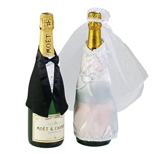 Edle Flaschendeko F R Sektflaschen Brautpaar Hochzeit 2tlg