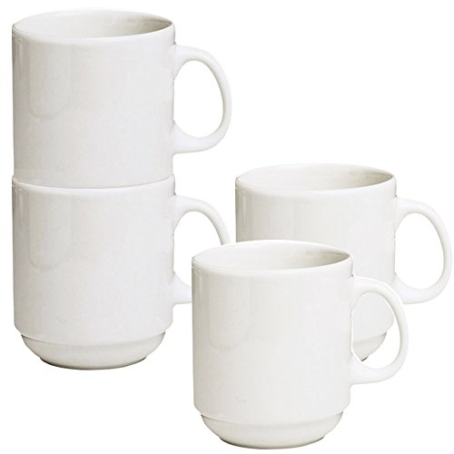 Stackable Ceramic Diner Coffee And Tea Mugs With Pan