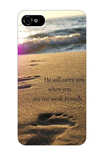 He Will Carry You When You Are Too Weak To Walk 2Cor 12:9 Bible Quote Christian Verses Pattern Theme Printing Protective Cover Protetor Sleeve Case For Apple Iphone 5 5S 5G front-1007298