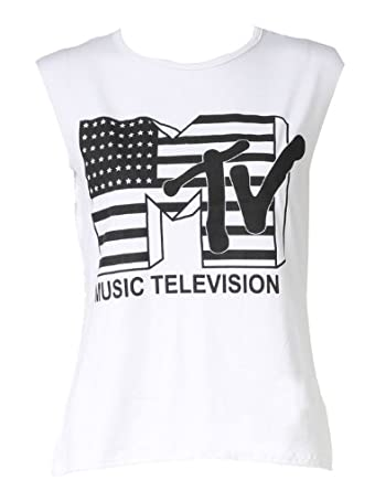 Womens MTV Music Television Ladies Vest Tank Top / Size (8-14)-£5.99 (SM - UK(8-10), White)