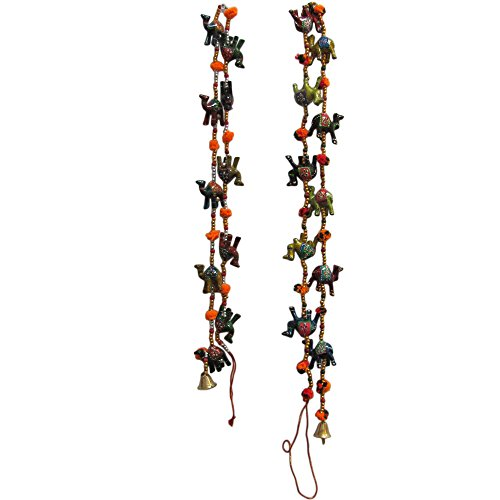 Traditional Indian Door Decorative Hanging Cotton String Camel Ornaments with Bells (Set of 2)