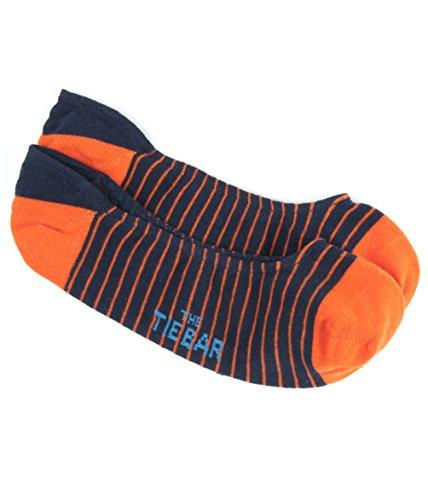 Pencil Stripe Tangerine Men's No-Show Cotton Blend Dress Socks