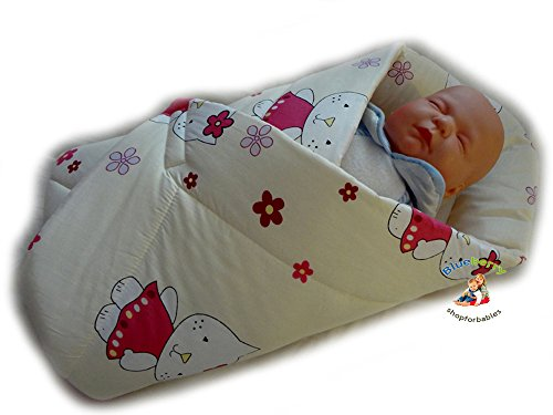 BlueberryShop PLAYMAT Swaddle Wrap, Blanket, duvet, Sleeping Bag for newborn baby shower GIFT PRESENT, 0-3m Cotton ( 0-3m ) ( 78 x 78 cm ) Cream Kitty