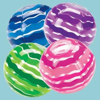 Inflate Striped Beach Balls (3 ct)