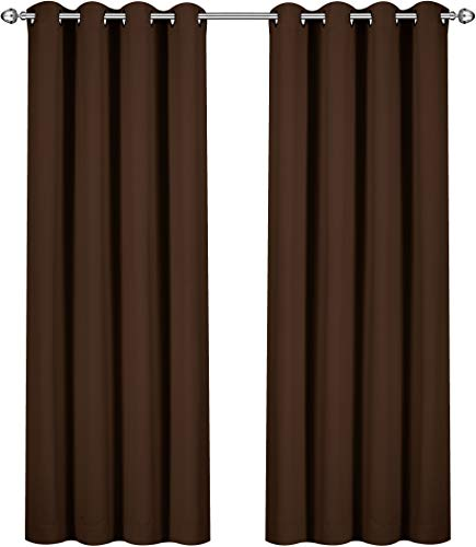 Utopia Bedding Blackout Room Darkening Thermal Insulating Window Curtains/Panels/Drapes - 2 Panels Set - 8 Grommets per Panel - 2 Tie Backs Included (Chocolate, Pack of 10)