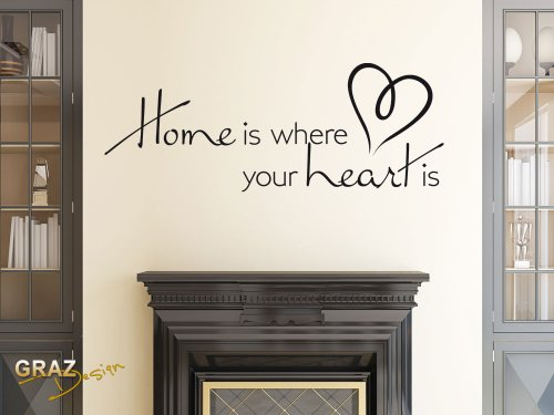 Graz Design 720398_40_070 Wandtattoo Wandaufkleber Wand Deko Spruch Home is where your heart is Herz
