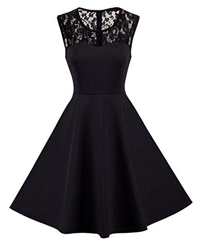 HOMEYEE Women's Vintage Chic Sleeveless Cocktail Party Dress A008 (L, Black)
