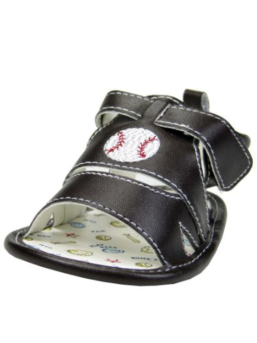Baseball Baby Boy Soft Sole Crib Sandals By Vitamins Baby - Brown - 2 Infant / 3 Mths-6 Mths